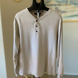Structure Three Button Oatmeal Colored Shirt Sz M